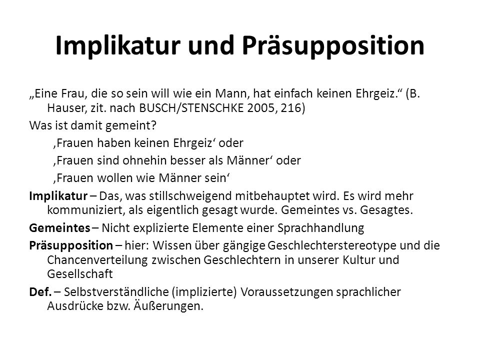 Implikatur und Präsupposition