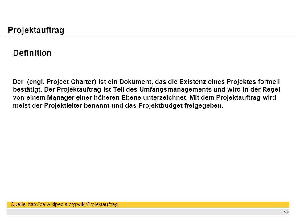 Projektauftrag Definition