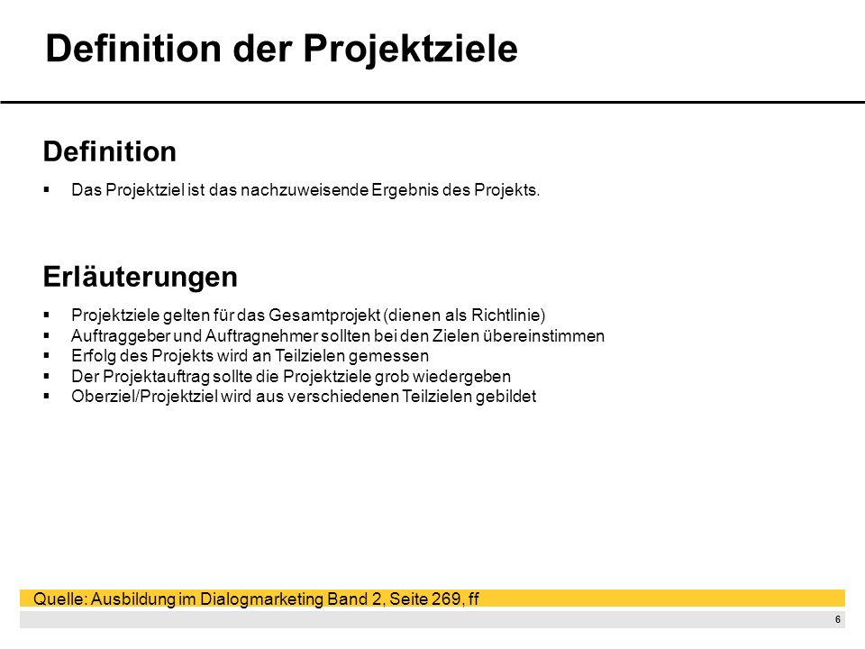 Definition der Projektziele