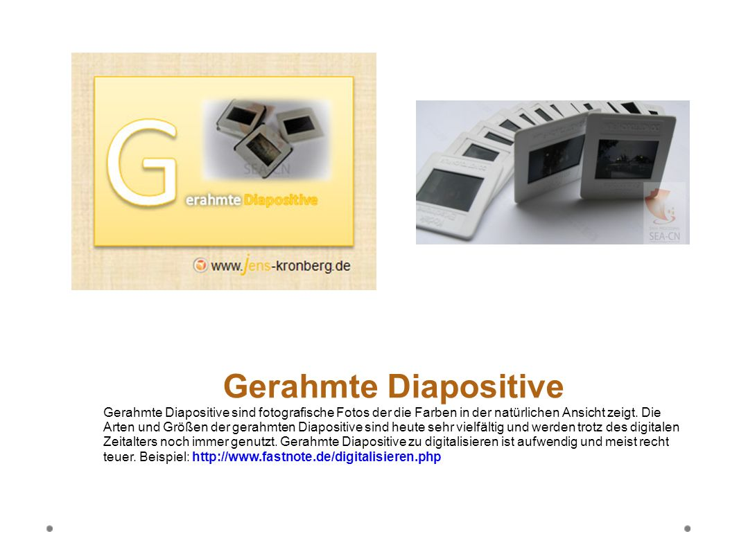 Gerahmte Diapositive