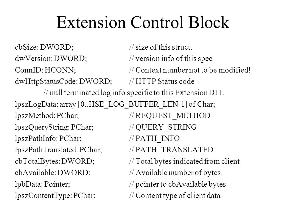 Extension Control Block