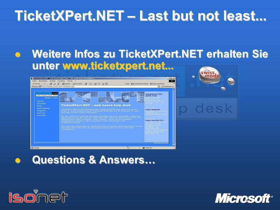 TicketXPert.NET – Last but not least...
