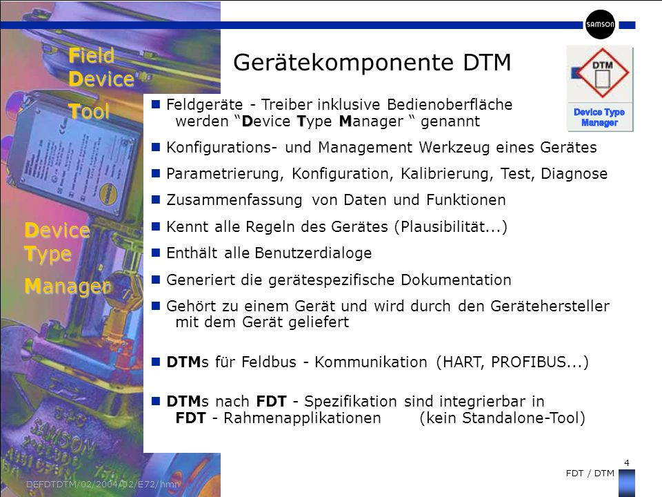 Field Device Tool Device Type Manager Gerätekomponente DTM