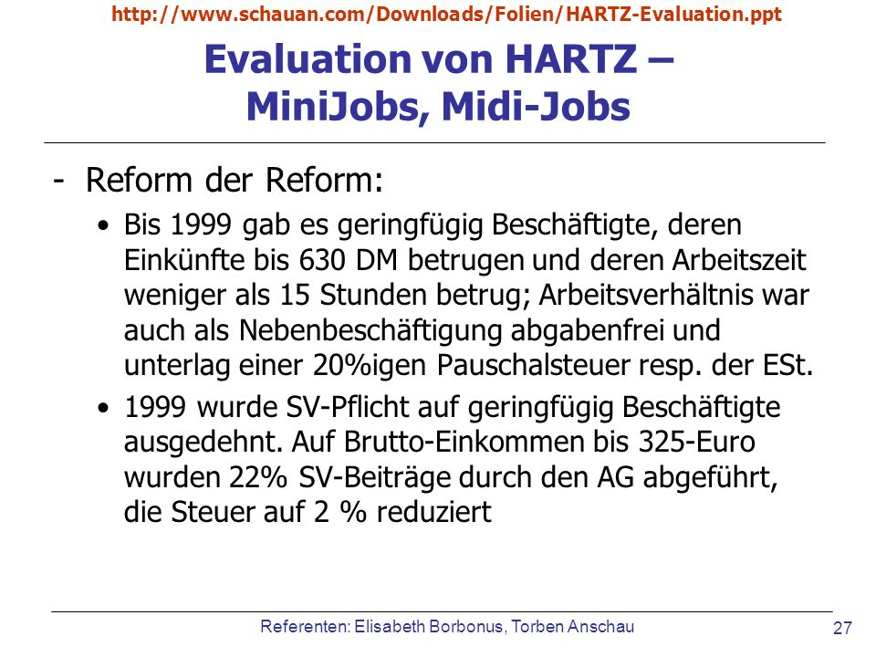 Evaluation von HARTZ – MiniJobs, Midi-Jobs
