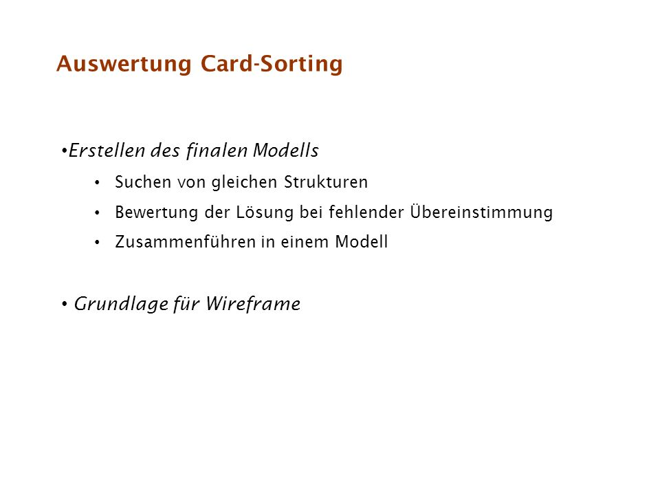 Auswertung Card-Sorting
