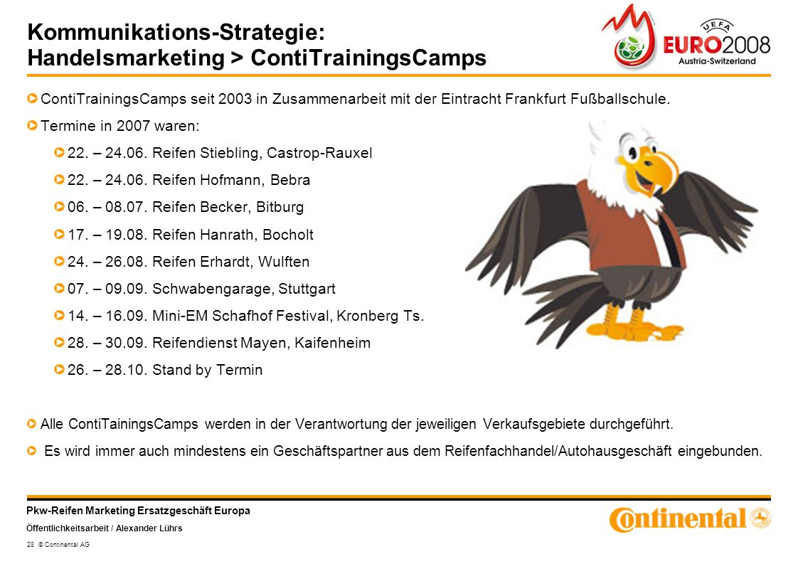 Kommunikations-Strategie: Handelsmarketing > ContiTrainingsCamps