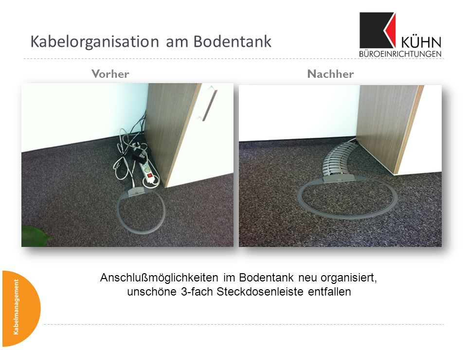 Kabelorganisation am Bodentank