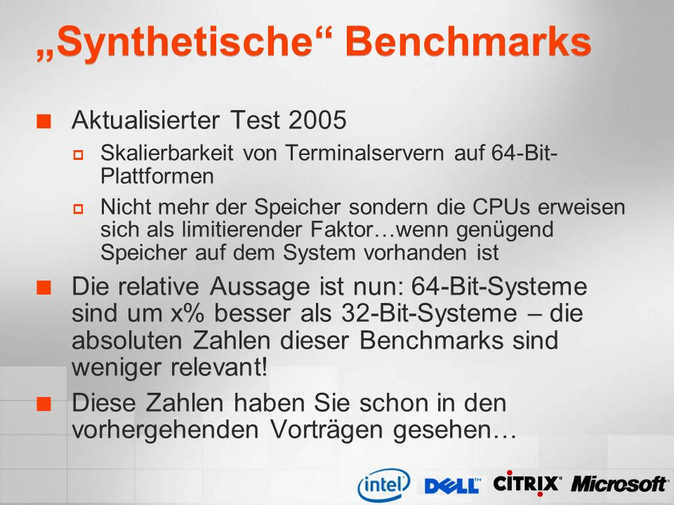 """Synthetische Benchmarks"