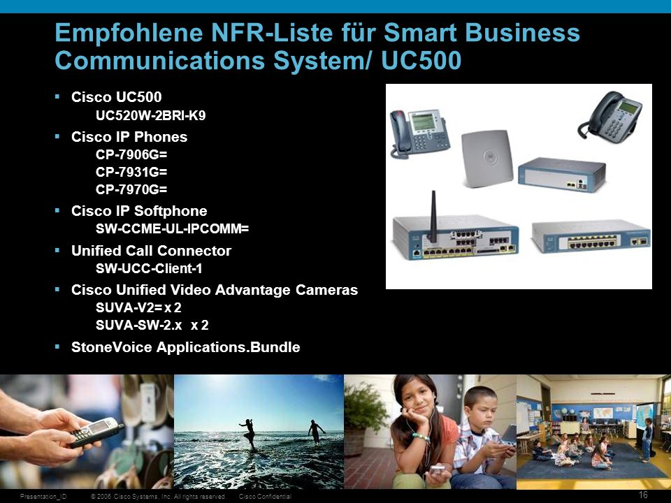 Empfohlene NFR-Liste für Smart Business Communications System/ UC500
