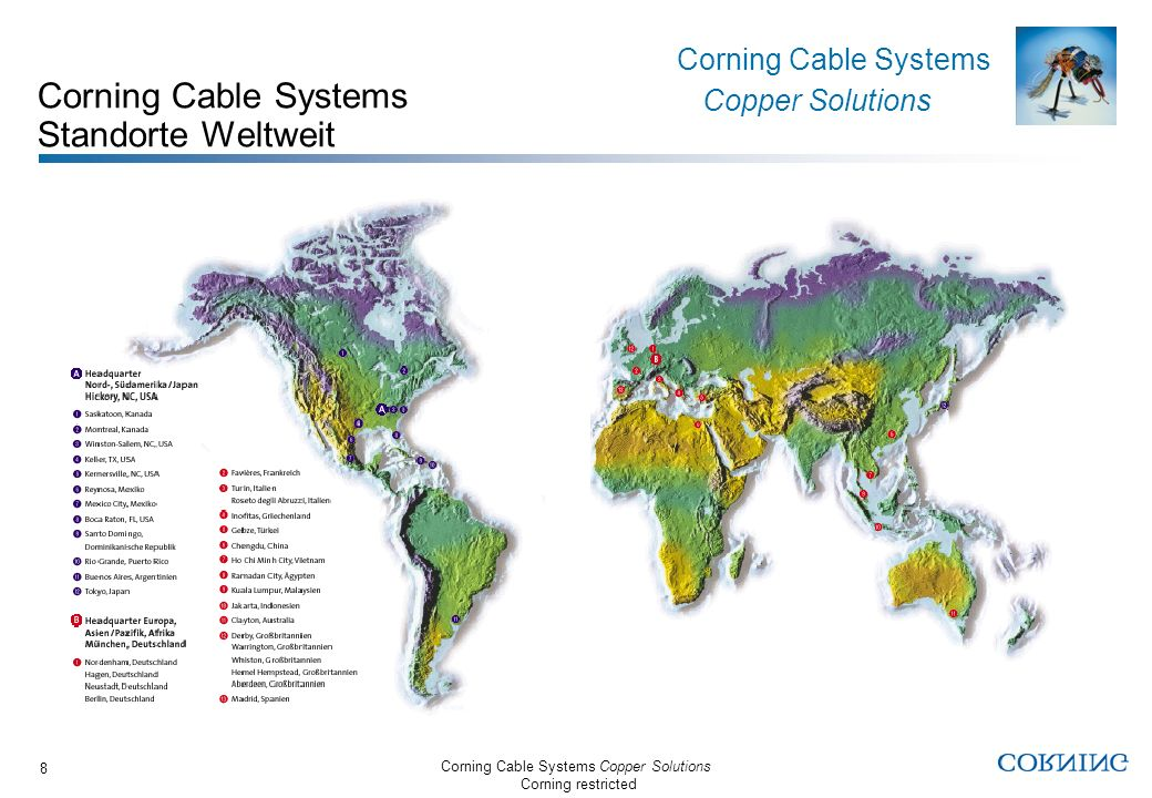 Corning Cable Systems Standorte Weltweit