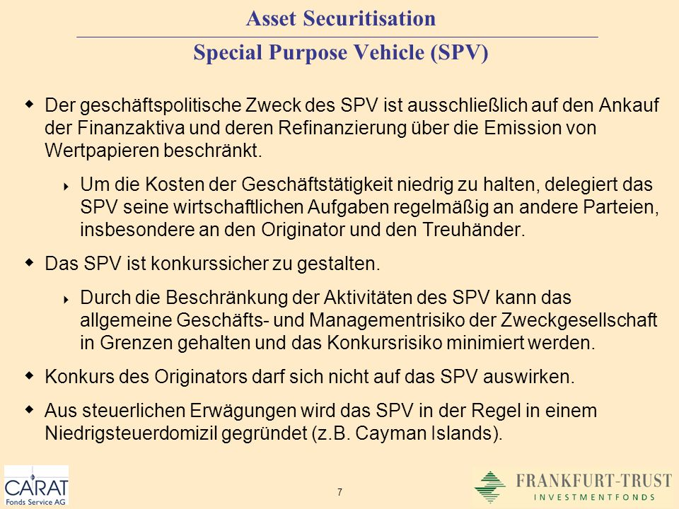 Asset Securitisation Special Purpose Vehicle (SPV)