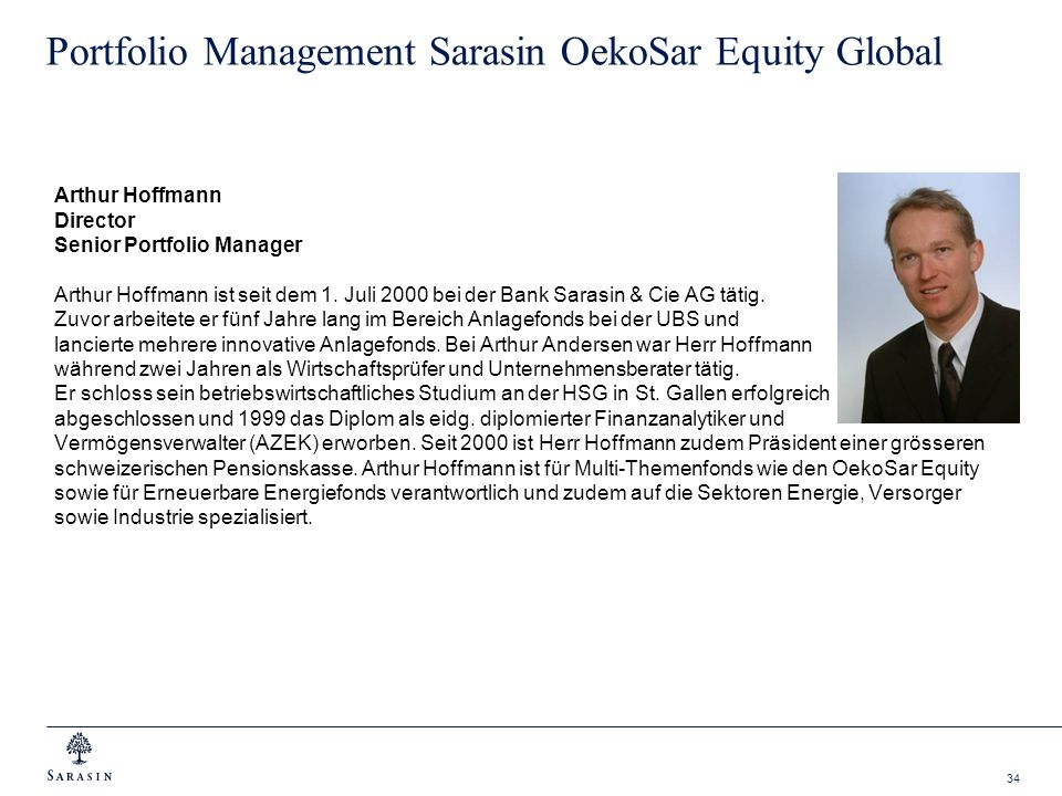Portfolio Management Sarasin OekoSar Equity Global