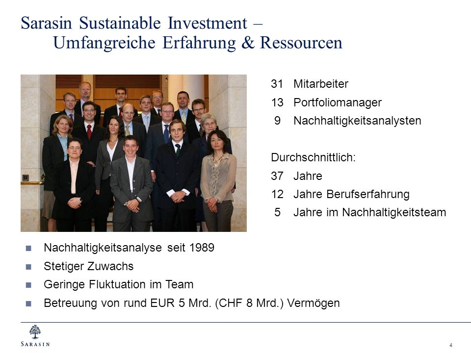 Sarasin Sustainable Investment – Umfangreiche Erfahrung & Ressourcen
