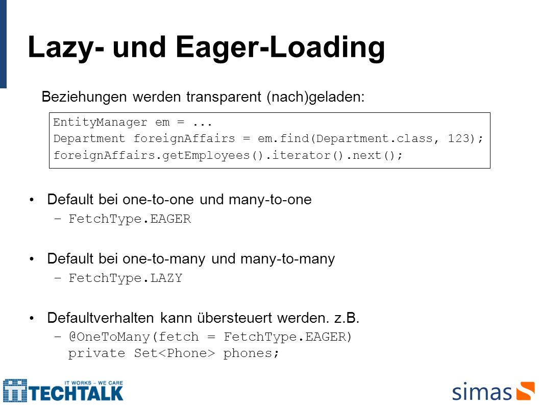 Lazy- und Eager-Loading