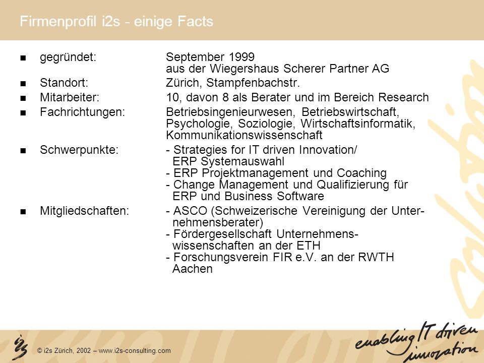 Firmenprofil i2s - einige Facts