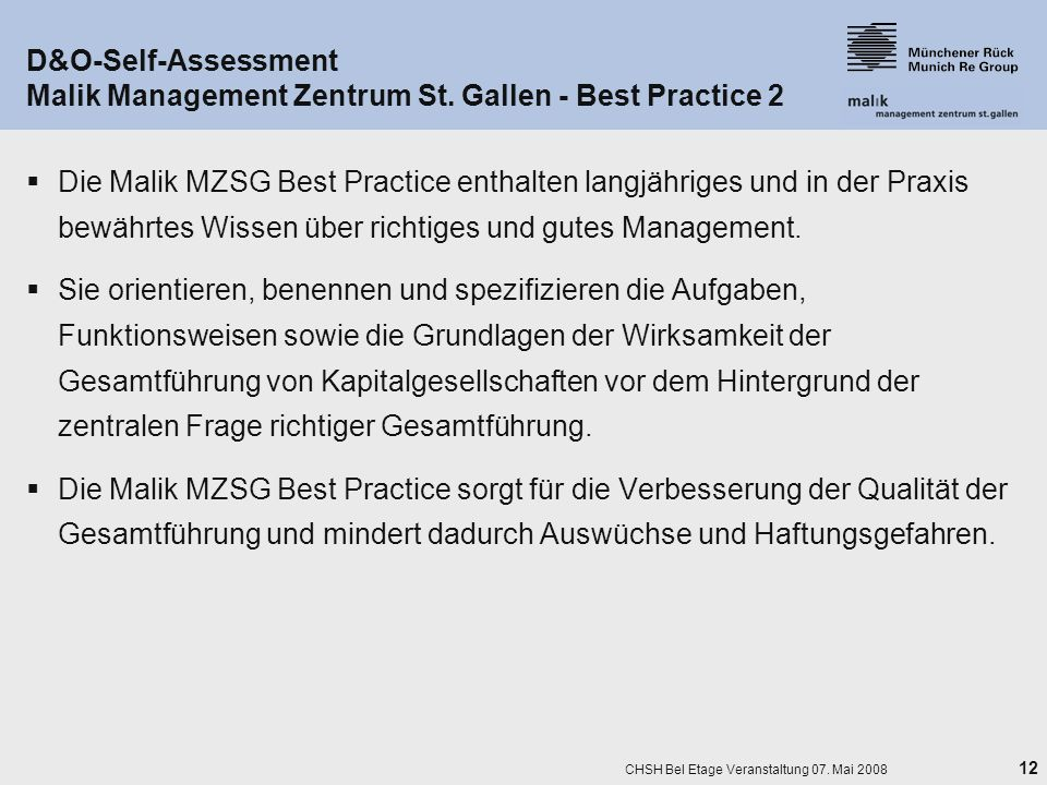 25. März 2017 D&O-Self-Assessment Malik Management Zentrum St. Gallen - Best Practice 2.