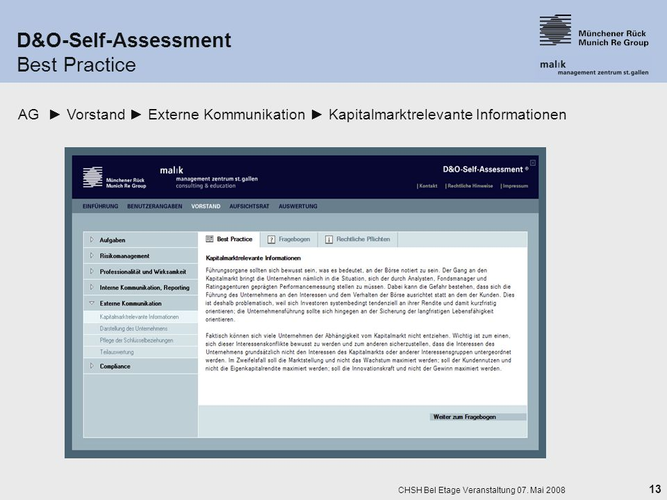 D&O-Self-Assessment Best Practice