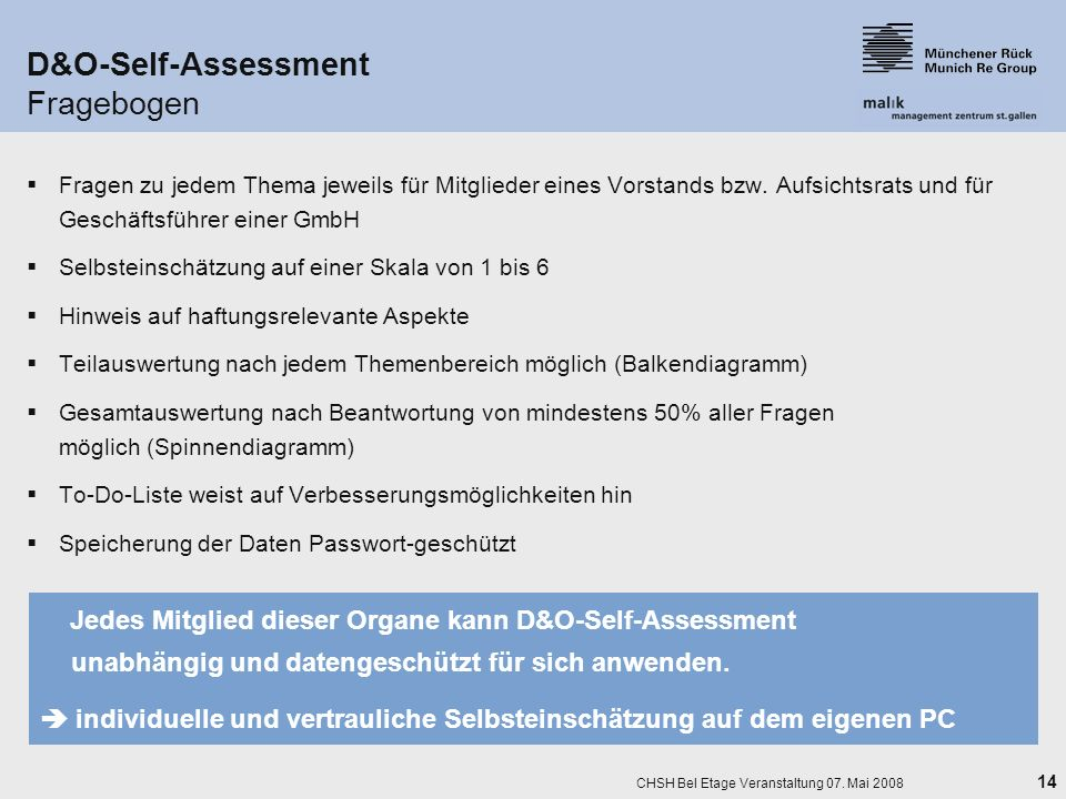 D&O-Self-Assessment Fragebogen