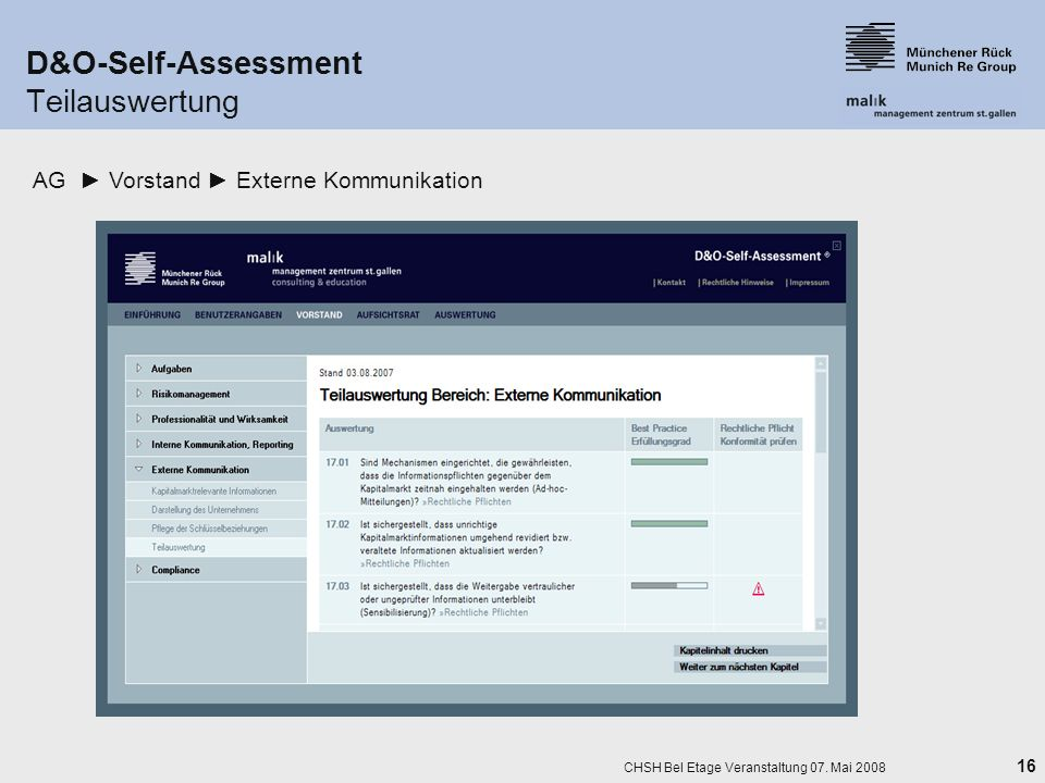 D&O-Self-Assessment Teilauswertung