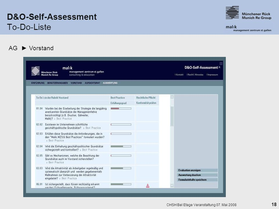 D&O-Self-Assessment To-Do-Liste