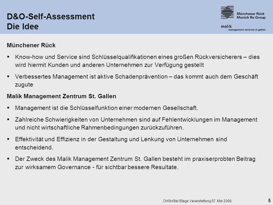 D&O-Self-Assessment Die Idee