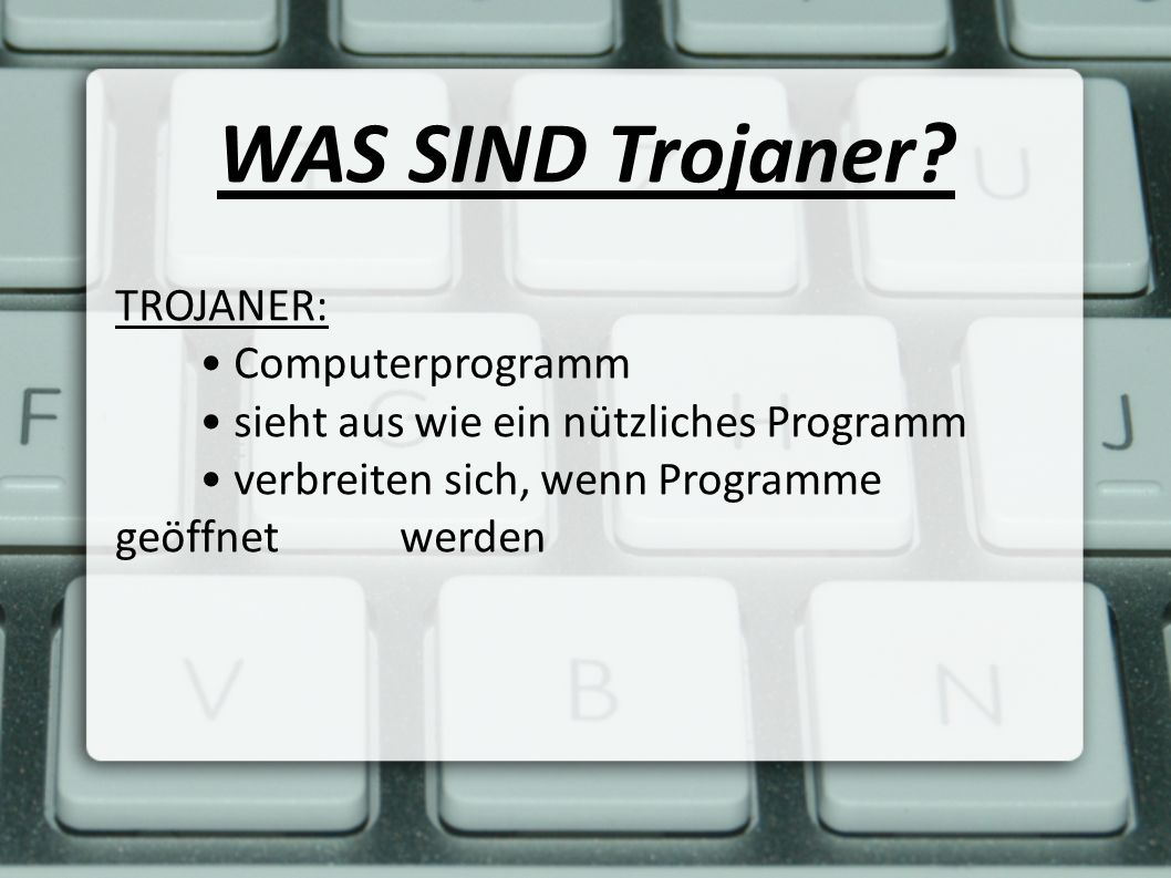 WAS SIND Trojaner TROJANER: • Computerprogramm
