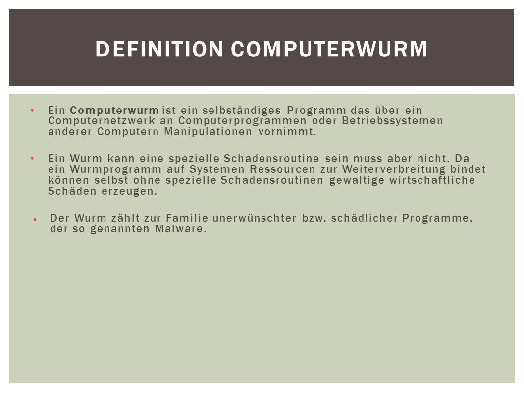 Definition Computerwurm