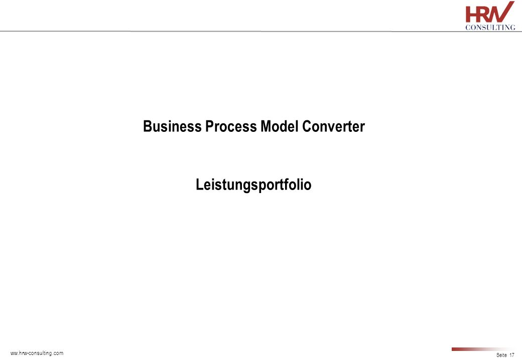 Business Process Model Converter Leistungsportfolio