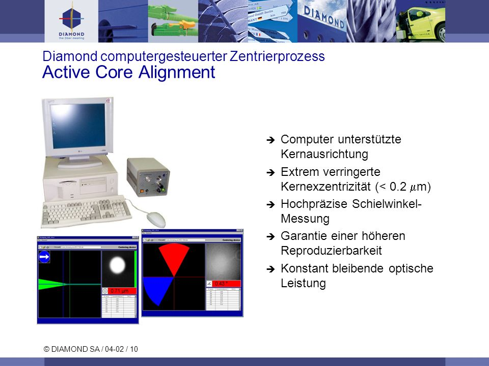 Diamond computergesteuerter Zentrierprozess Active Core Alignment