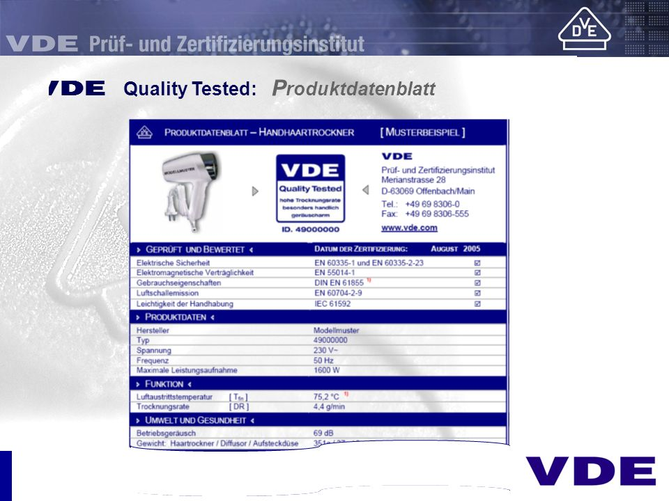 E Quality Tested: Produktdatenblatt
