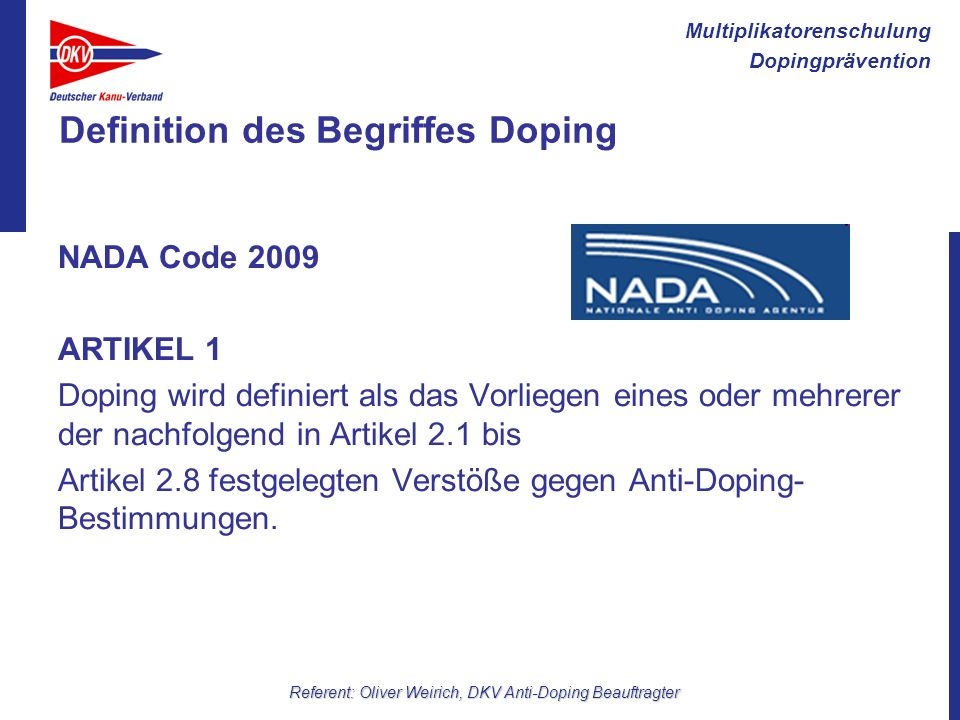 Definition des Begriffes Doping