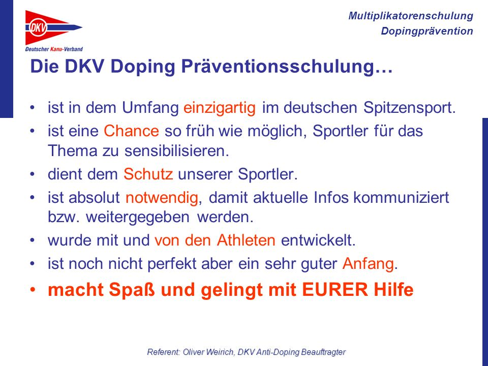 Die DKV Doping Präventionsschulung…