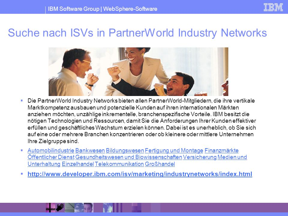 Suche nach ISVs in PartnerWorld Industry Networks