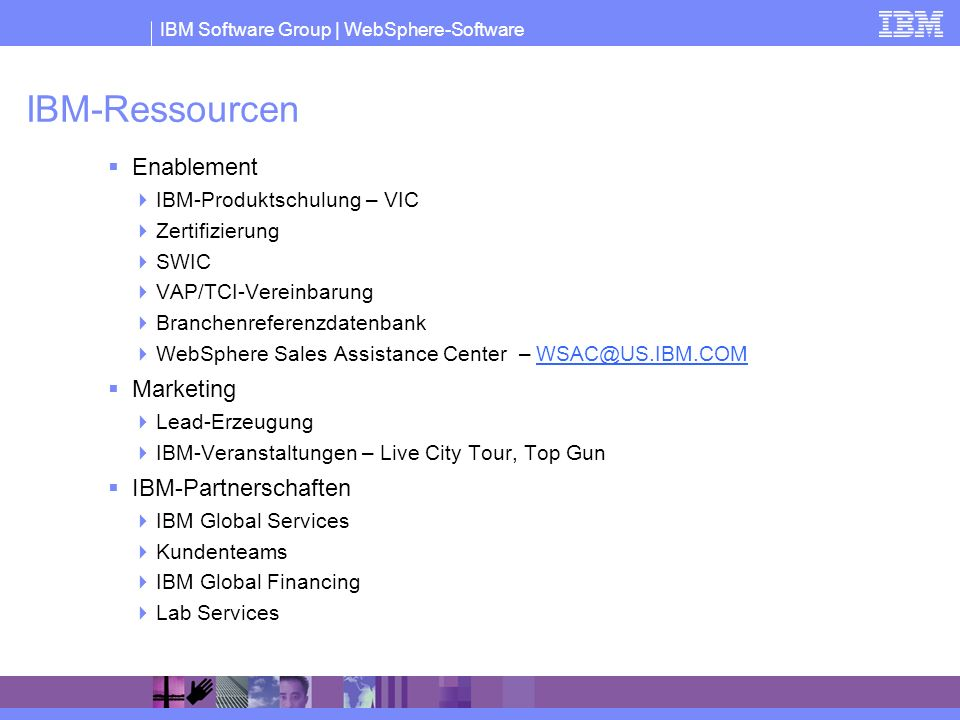 IBM-Ressourcen Enablement Marketing IBM-Partnerschaften