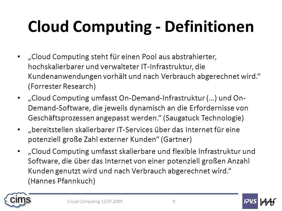 Cloud Computing - Definitionen