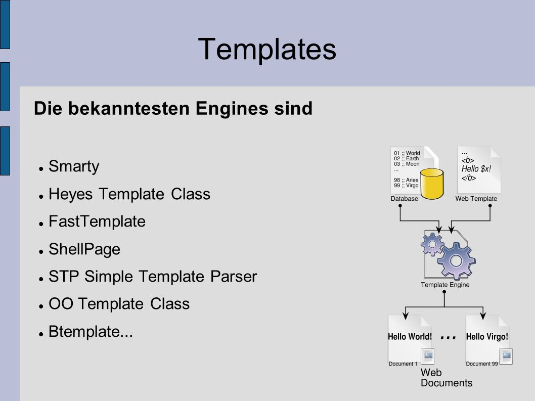 Templates Die bekanntesten Engines sind Smarty Heyes Template Class