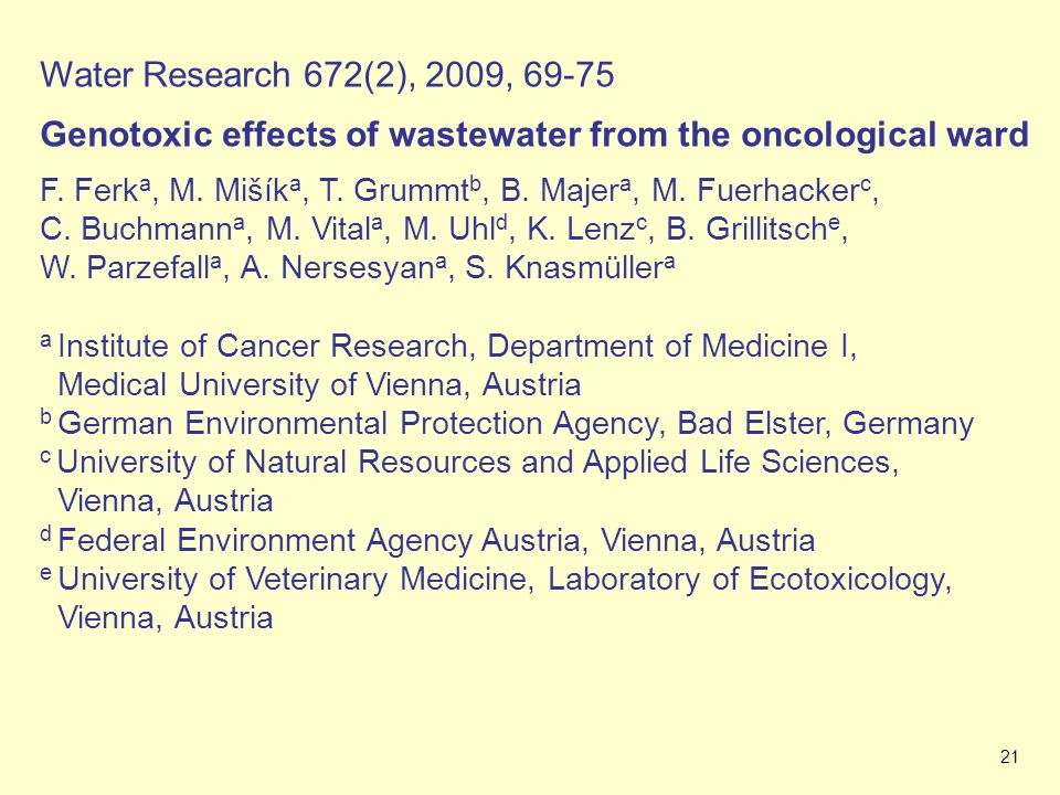 Genotoxic effects of wastewater from the oncological ward
