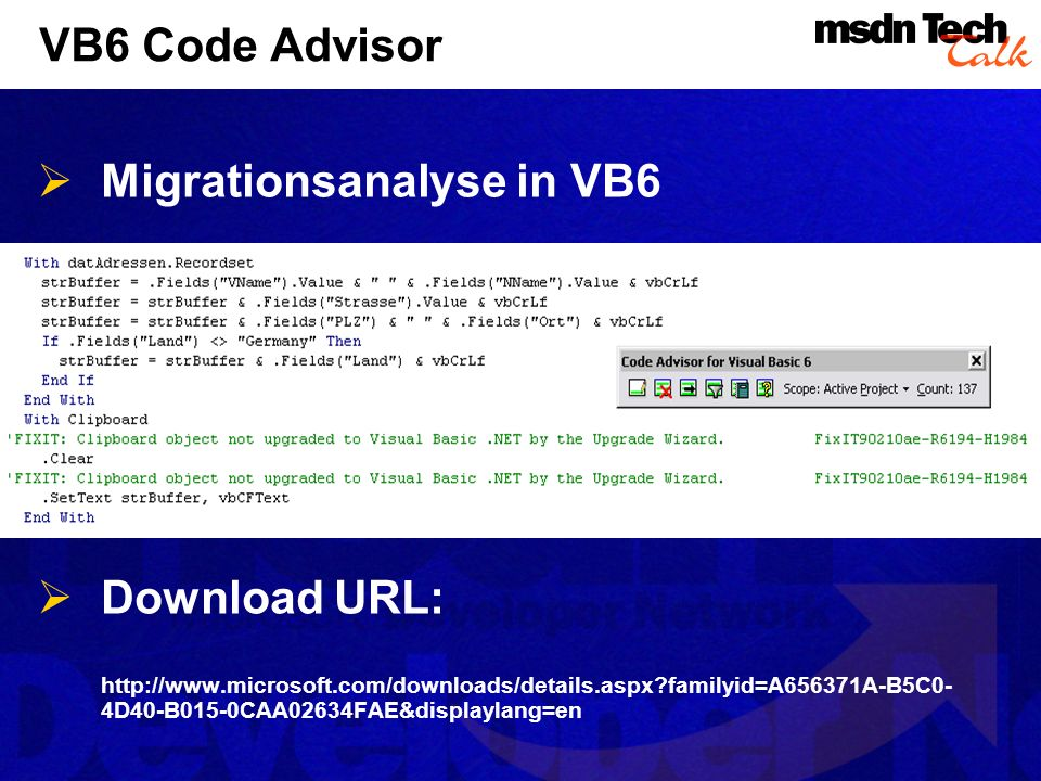 Migrationsanalyse in VB6