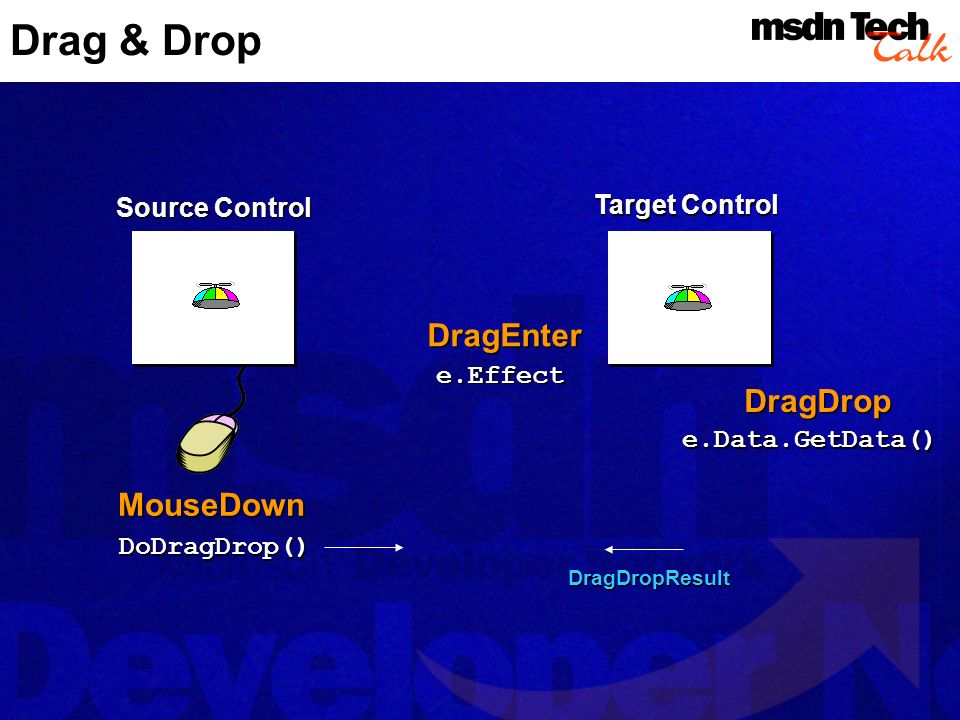 Drag & Drop DragEnter DragDrop MouseDown Source Control Target Control