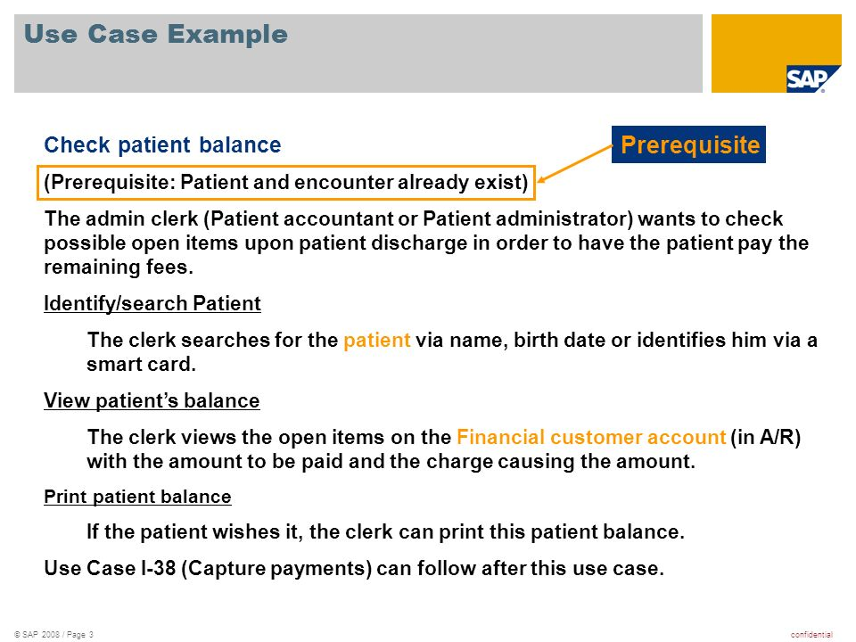 Use Case Example Prerequisite Check patient balance