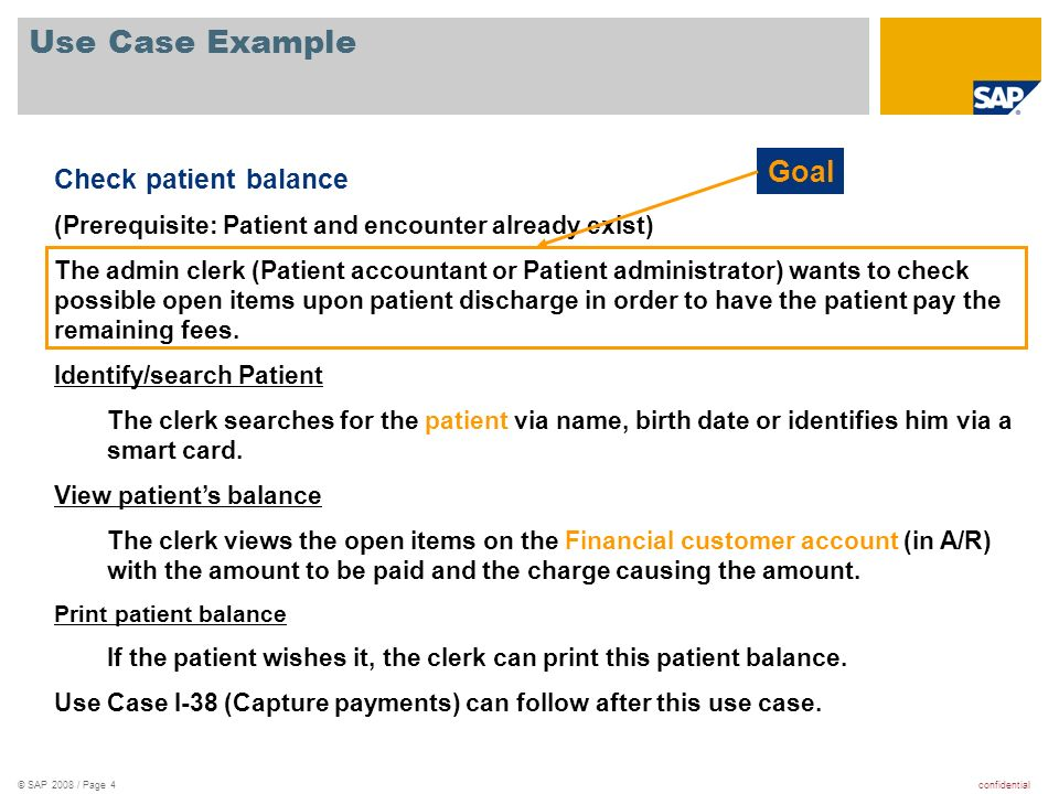 Use Case Example Goal Check patient balance