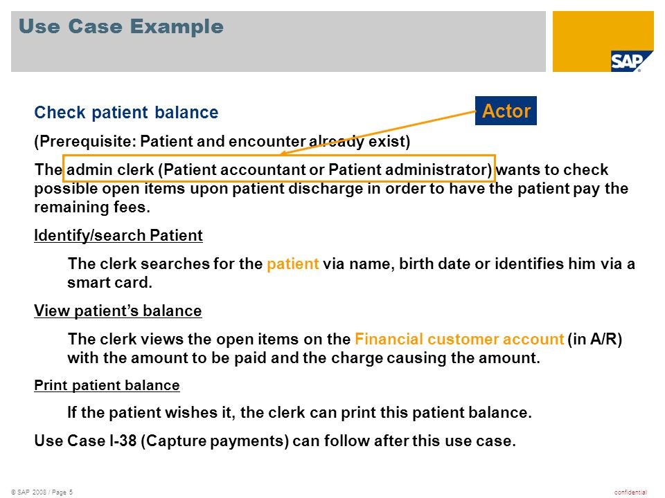 Use Case Example Actor Check patient balance