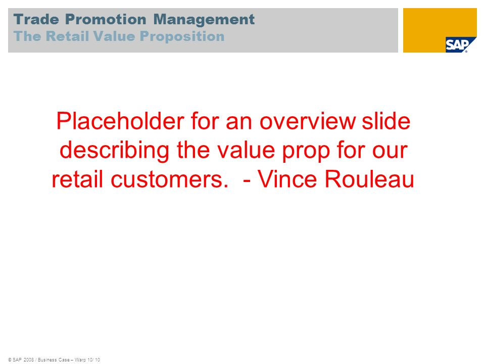 Trade Promotion Management The Retail Value Proposition