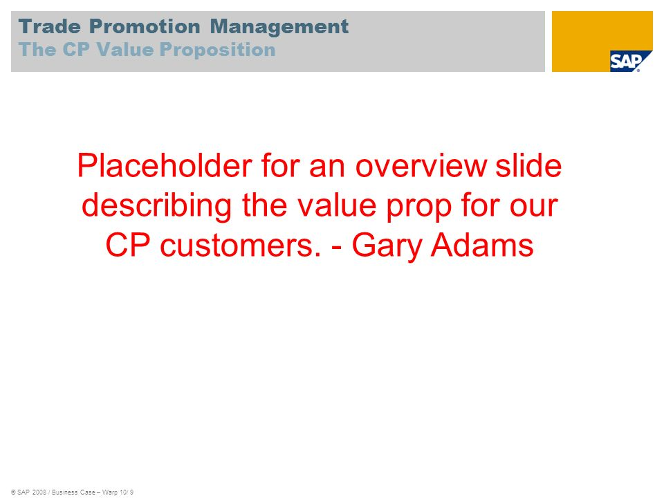 Trade Promotion Management The CP Value Proposition