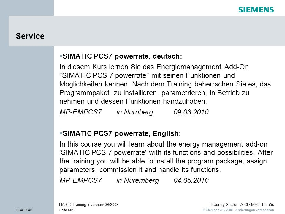 Service SIMATIC PCS7 powerrate, deutsch: