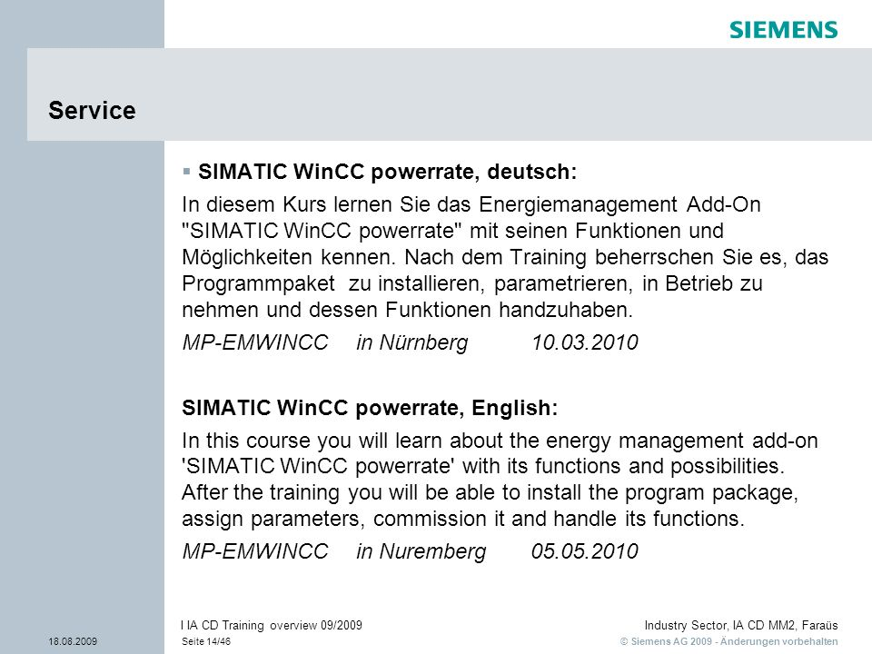 Service SIMATIC WinCC powerrate, deutsch: