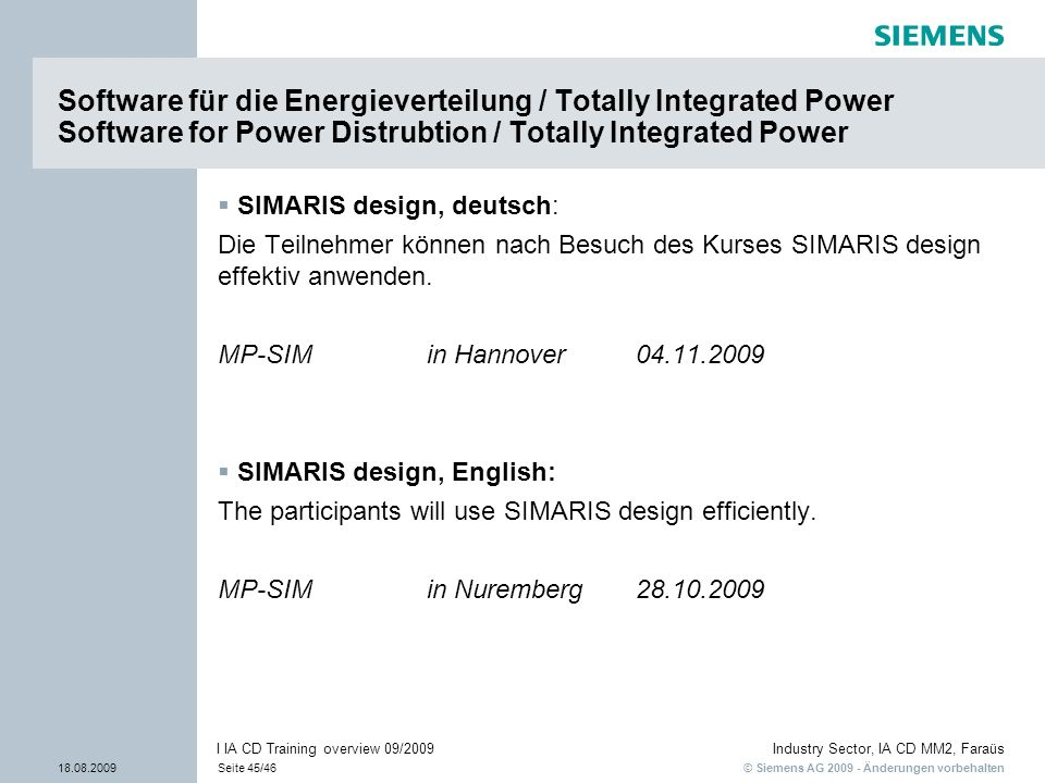Software für die Energieverteilung / Totally Integrated Power Software for Power Distrubtion / Totally Integrated Power