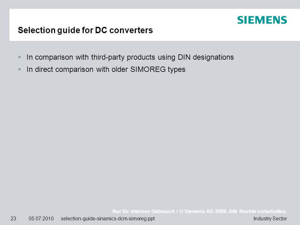 Selection guide for DC converters