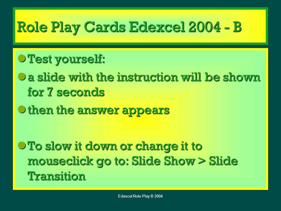 Role Play Cards Edexcel B