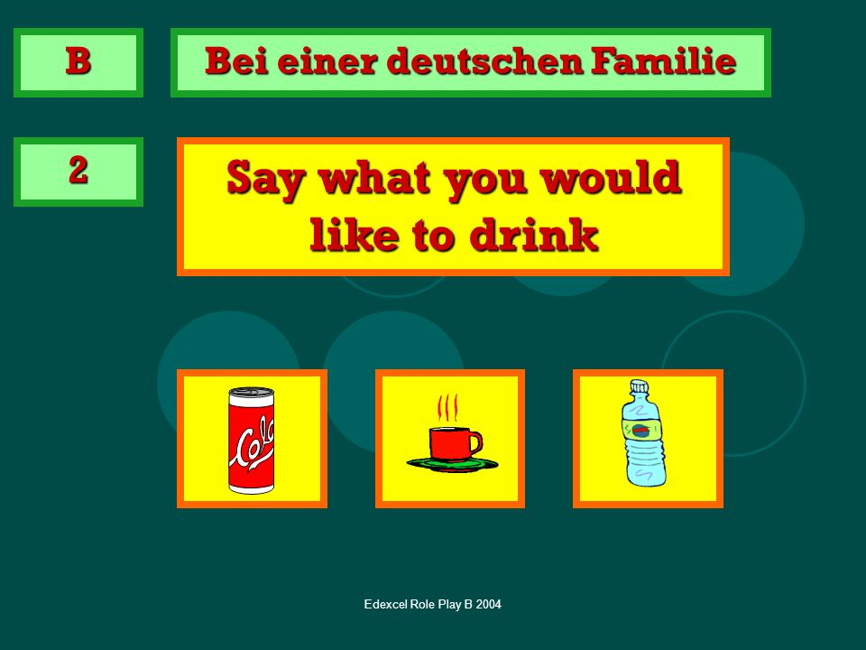 Bei einer deutschen Familie Say what you would like to drink